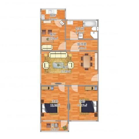 青后小区2室3厅1卫1厨115.00㎡户型图