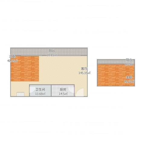 河畔花园1室1厅1卫1厨336.00㎡户型图