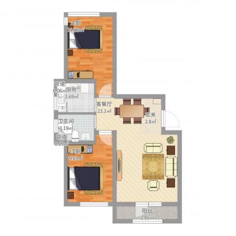 天盛名都2室1厅1卫1厨78.00㎡户型图