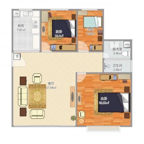 上南翡翠苑33号1013室2厅1卫1厨120.00㎡户型图
