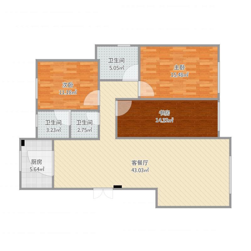 135平米三室两厅一厨两卫