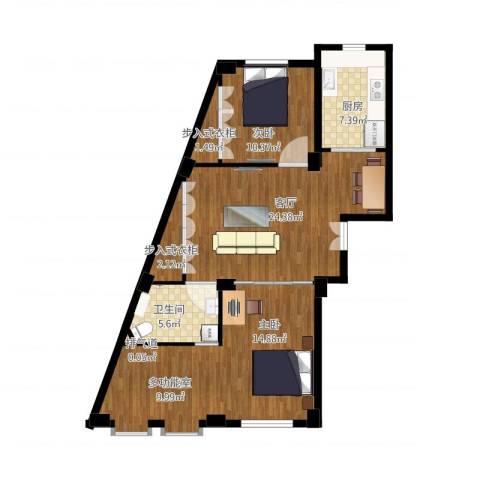 实华・新兴佳园2室1厅2卫1厨108.00㎡户型图