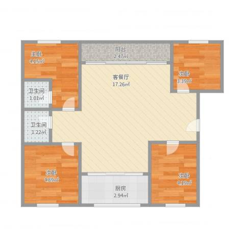 禹洲香槟城4室1厅2卫1厨58.00㎡户型图