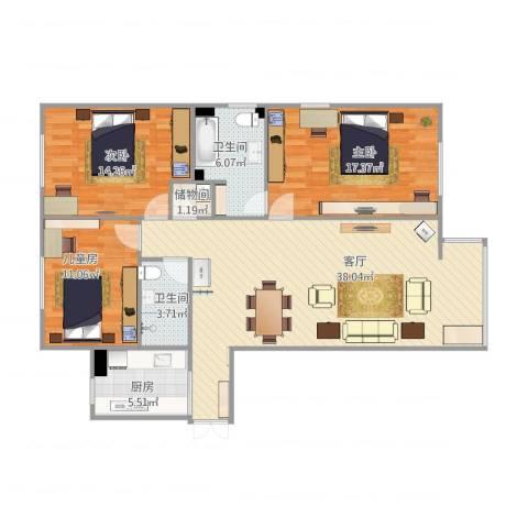 碧水星阁3室1厅2卫1厨131.00㎡户型图
