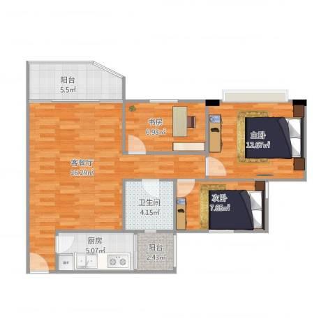祈福新村绿怡居3室1厅1卫1厨83.00㎡户型图