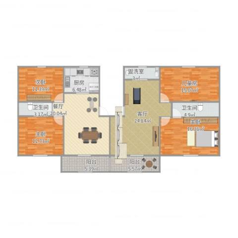 香格里拉花园小区4室3厅2卫1厨174.00㎡户型图