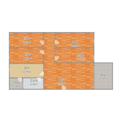 玫瑰名园4室1厅1卫1厨188.00㎡户型图
