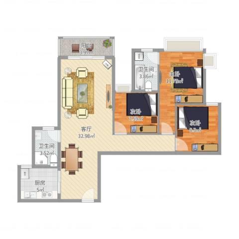 大隆湾9栋03户型3室1厅2卫1厨108.00㎡户型图
