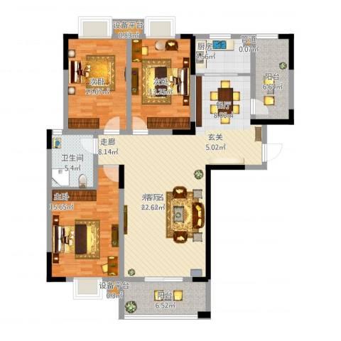 众发世纪城3室1厅4卫1厨156.00㎡户型图