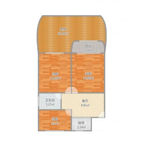田林十四村3室1厅1卫1厨89.00㎡户型图
