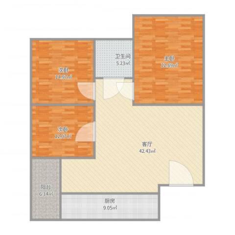 文华花园3室1厅1卫1厨150.00㎡户型图