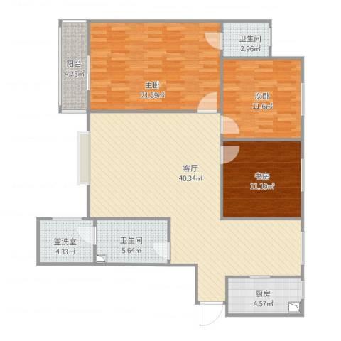 天和新府3室2厅2卫1厨143.00㎡户型图