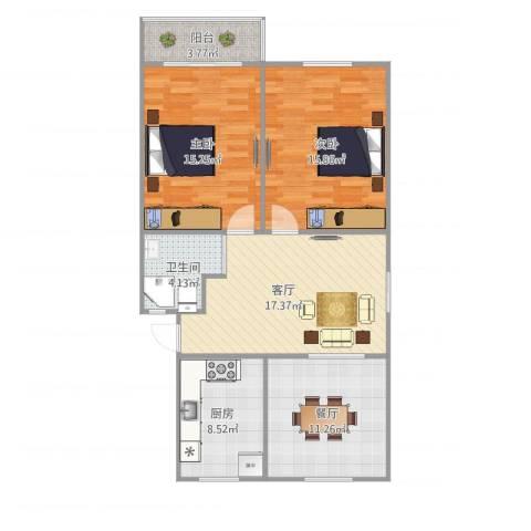 呼玛三村2室2厅1卫1厨101.00㎡户型图