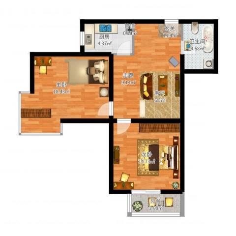 红人公馆2室1厅1卫1厨91.00㎡户型图