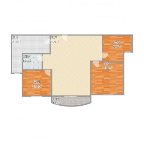 伯爵大地3室1厅1卫1厨129.00㎡户型图