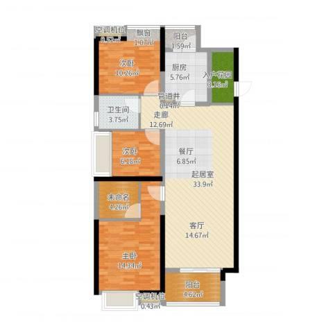东莞厚街万达广场3室1厅4卫2厨128.00㎡户型图