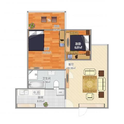 文泰康城2室1厅1卫1厨81.00㎡户型图