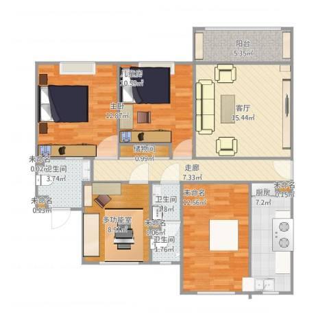 西城名邸2室1厅3卫1厨122.00㎡户型图