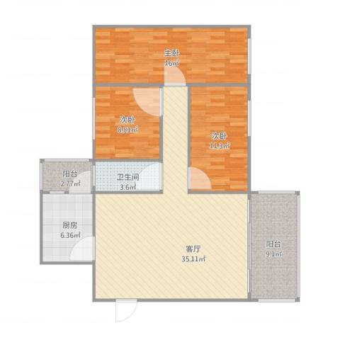 岐海苑3室1厅1卫1厨125.00㎡户型图