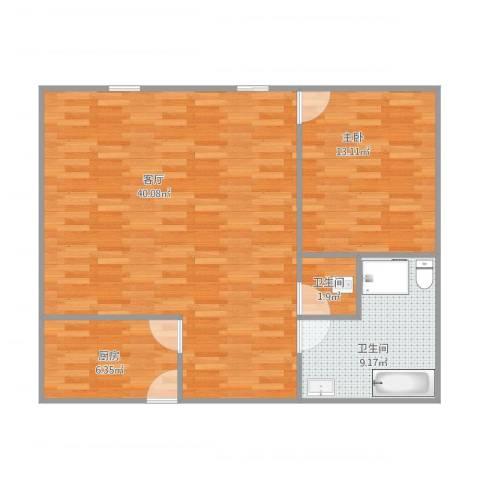 1号公寓1室1厅2卫1厨94.00㎡户型图