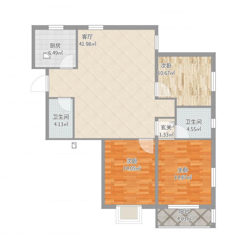 凯旋公馆C户型原始图.0312-3809002一扬装饰
