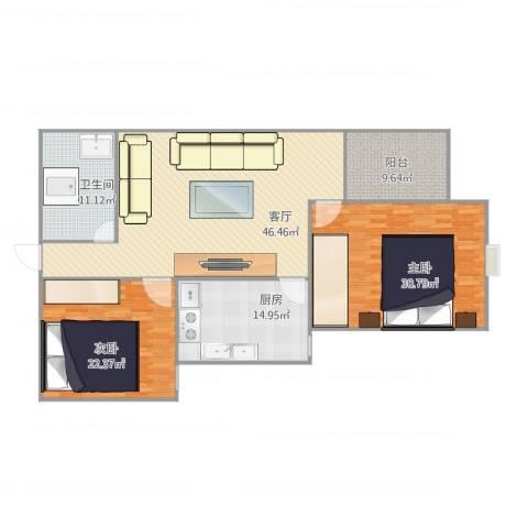 太阳园2室1厅1卫1厨178.00㎡户型图