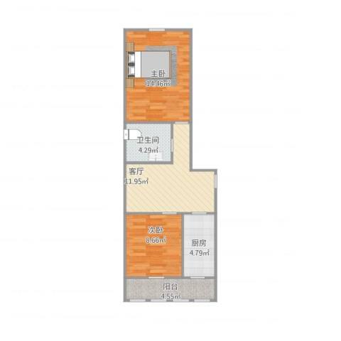 孚泰公寓2室1厅1卫1厨66.00㎡户型图