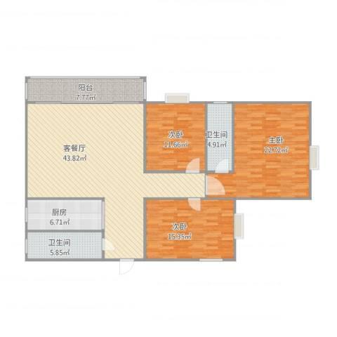 美豪村16E3室1厅2卫1厨159.00㎡户型图