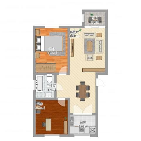 宏都筑景2室1厅1卫1厨99.00㎡户型图