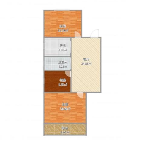 齐门下塘3室1厅1卫1厨118.00㎡户型图