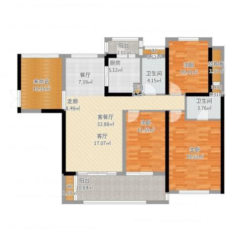 珑湖湾东岸3室1厅2卫1厨163.00㎡户型图