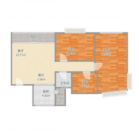 阳光人家3室1厅1卫1厨95.00㎡户型图