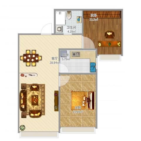 保利罗兰香谷二期2室1厅1卫1厨85.00㎡户型图