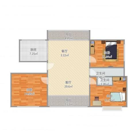 阳光人家3室1厅2卫1厨121.00㎡户型图