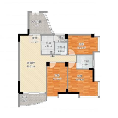 星河传说聚星岛B区3室1厅2卫1厨128.00㎡户型图