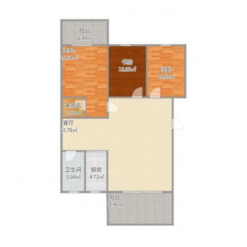 东坪山庄3室1厅1卫1厨147.00㎡户型图