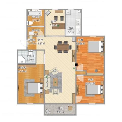 新华一村2室1厅1卫1厨131.00㎡户型图