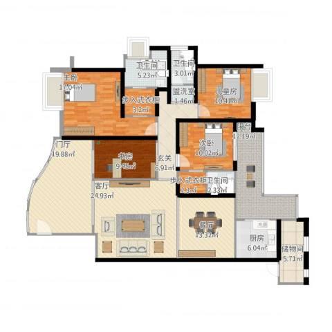 嘉和名苑7幢8014室3厅3卫1厨216.00㎡户型图