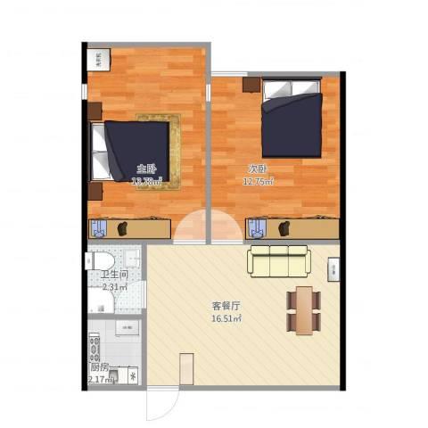 青年路社区2室1厅1卫1厨64.00㎡户型图