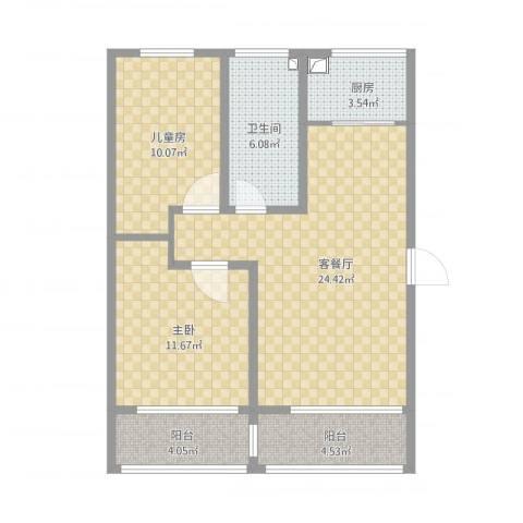 淮海东城御景2室1厅1卫1厨89.00㎡户型图