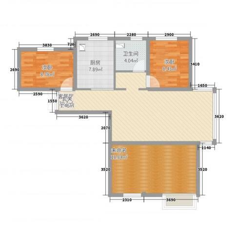 新希望乐城2室1厅1卫1厨89.00㎡户型图