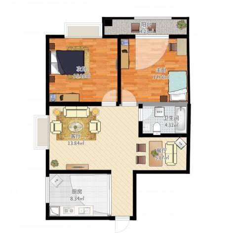 光明小区B2东南户2室1厅1卫1厨108.00㎡户型图