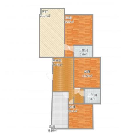 沈阳月星国际城3室1厅2卫1厨125.00㎡户型图