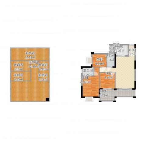 富都华苑3室1厅2卫1厨206.00㎡户型图