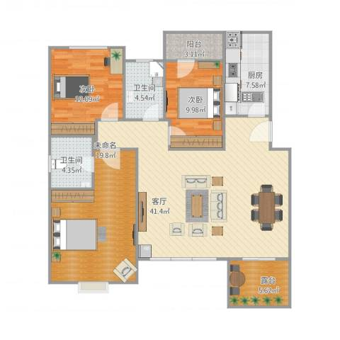 宝龙城市广场2室1厅2卫1厨145.00㎡户型图