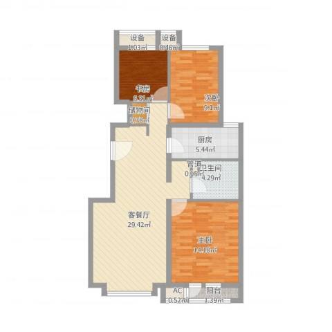 中粮万科紫云庭3室1厅1卫1厨106.00㎡户型图