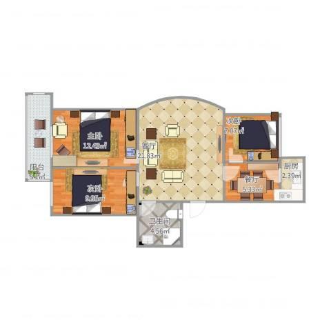 碧螺山庄3室2厅1卫1厨92.00㎡户型图