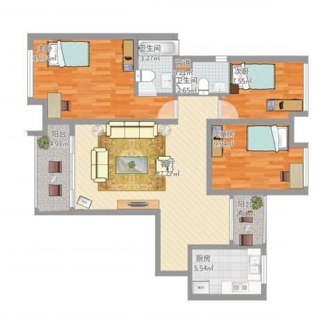 日月光伯爵天地3室1厅2卫1厨114.00㎡户型图