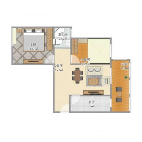 恒大名都2室1厅1卫1厨71.00㎡户型图