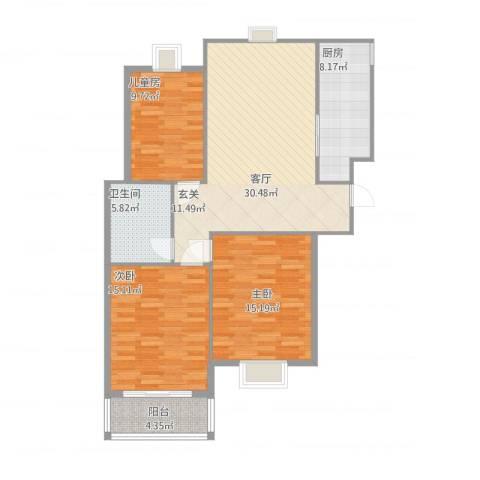 兴都公寓3室1厅1卫1厨121.00㎡户型图